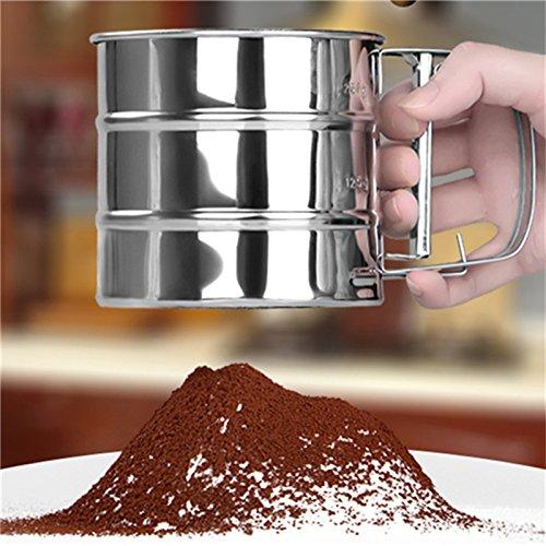 Flour Sifter Shaker Mechanical Stainless Steel Sugar Icing Mesh Baking Kitchen Tool