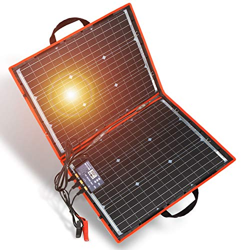 DOKIO 80w Folding Solar Panel Kit Monocrystalline with Regulator with 2 USB Output,for Caravan RV Boat Camper,Portable +HIGH EFFICIENC