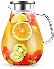 Glass Pitcher, veecom 80oz Water Pitcher with Lid, 2.4L Large Glass Pitcher with Lid and Spout for Hot&Cold Beverage, Juice, Iced Tea Pitcher for Fridge, Borosilicate Glass Carafe/Jug with Brush