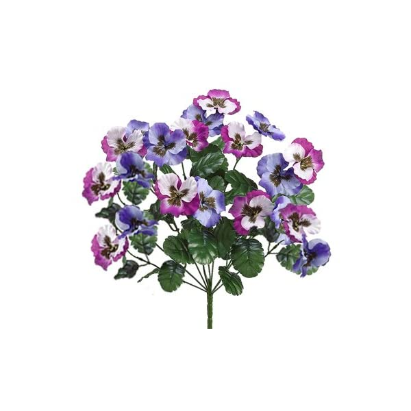 19″ Artificial Pansy Bush (pack of 12)