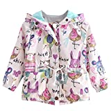 lymanchi Toddler Girls Hooded Lightweight Windbreaker Jackets Coats Cartoon 1-6Y 5-6T
