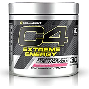 Cellucor C4 Extreme Energy Pre Workout Powder, Explosive High Energy Drink, Strawberry Kiwi, 30 Servings
