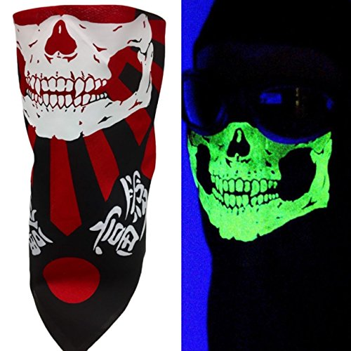 CRO®Brand Adjustable Reversible Japanese Flag Black Red Skull Face Motorcycle Rider Wind Sun Dust Mask Fits Adults and Kids Heads Circumference 18-25 inches ()