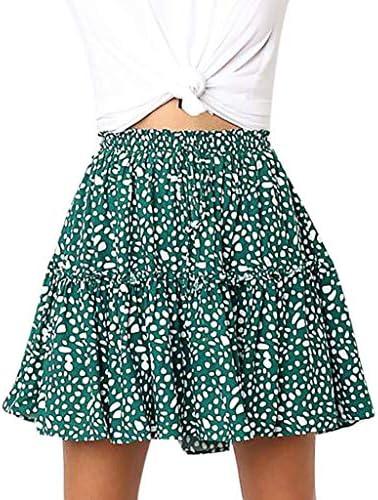 HENWERD Women Casual Polka Dot Print Ruffles A-Line Pleated Lace Up Slim Short Skirt / HENWERD Women Casual Polka Dot Print Ruffles A-Line Pleated Lace Up Slim Short Skirt