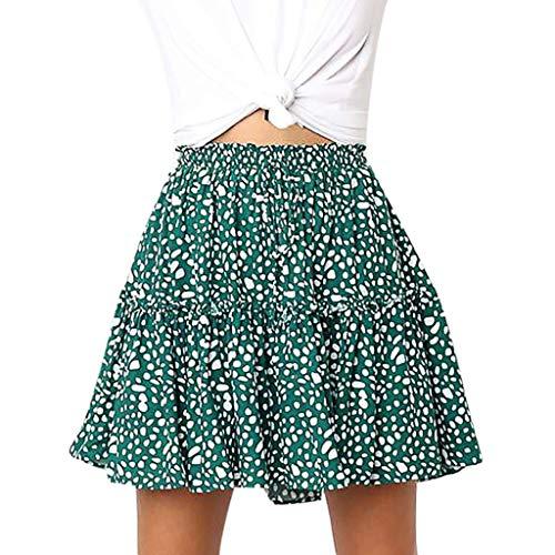 - Women's A-line Pleated Skirt, Sharemen Polka dot dot Print Ruffled Skirt with Mini Skirt S-XXXL(Green,L)