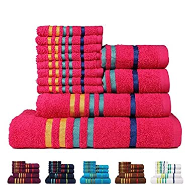Casa Copenhagen Exotic Cotton 475 GSM 12 Pieces Bath, Hand & Washcloth Towels Set - Hot Pink