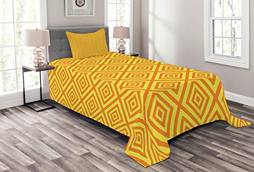 (Lunarable Mustard Bedspread Set Twin Size, Geometric Square Shaped Maze Lines Scroll Inner Corners Kids Retro Artful, Decorative Quilted 2 Piece Coverlet Set with Pillow Sham, Earth Yellow Orange)