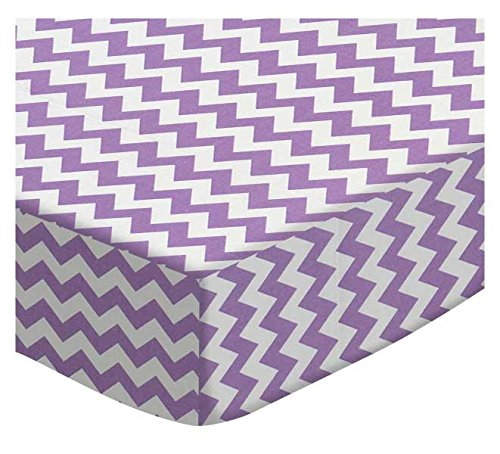 SheetWorld Fitted Cradle Sheet - Lilac Chevron Zigzag - Made In USA