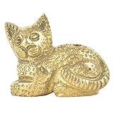 Indian Shelf Handmade Brass Sitting Cat Incense Stick Holder/Agarbatti Stand (NSP-235)