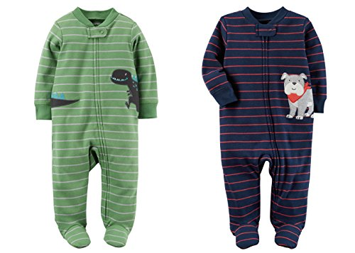 5f28302cc Carter s Set of 2 Baby Boys Cotton Footed Zip-Up Sleeper Sleep and ...