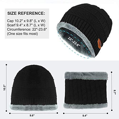 Conjunto de Invierno de de Gorros Hombre Sombrero Lana Bufanda Bufanda Punto con de Forro para Hombre Invierno negro de con 8wSxr08q