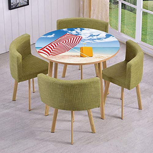 Sunshade Alabama (iPrint Round Table/Wall/Floor Decal Strikers,Removable,Windy Sandy Beach with Sunshade and Trolley Summer Holiday Relax Picture,for Living Room,Kitchens,Office Decoration)