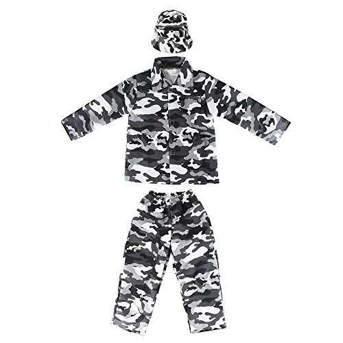 Kids Camo Camouflage Army Military Soilder Jumpsuit Halloween Costume - Snow-Long-M ()