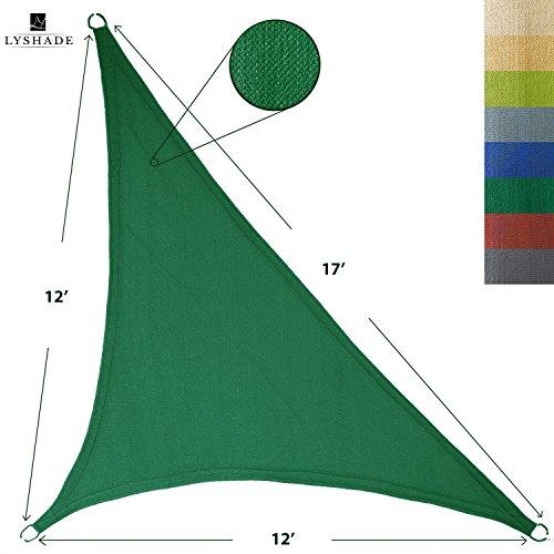 (LyShade 12' x 12' x 17' Right Triangle Sun Shade Sail Canopy (Dark Green) - UV Block for Patio and Outdoor)