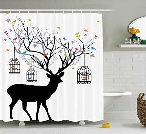 Ambesonne Antlers Decor Shower Curtain Set, Deer With Colorful Birds And Birdcages Silhouette Ornament Vintage Style, Bathroom Accessories, 69W X 70L Inches