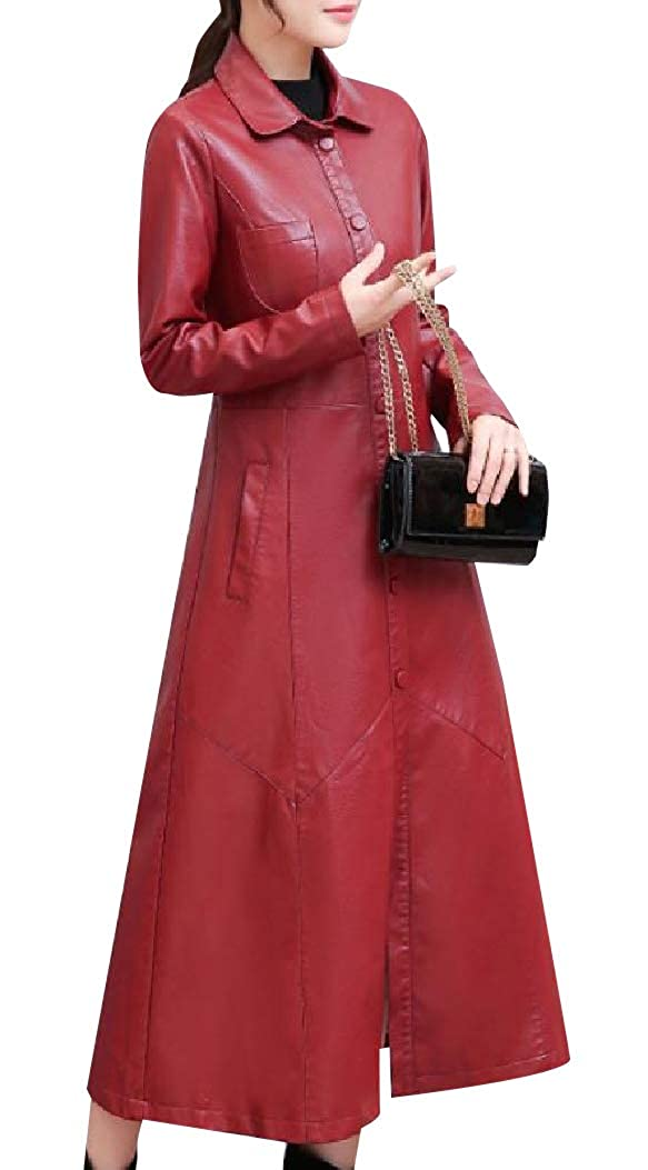 Andopa Women Long Maxi Button Closure Thickening Faux Leather Jackets