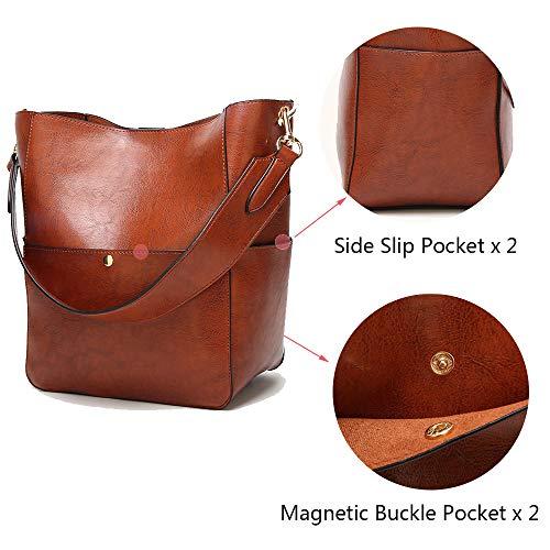 Casual Womens Shoulder Bags Herald Hobo Handle Purse Bucket Black Tote Handbag Top Satchel PU Leather 5g77wqrd