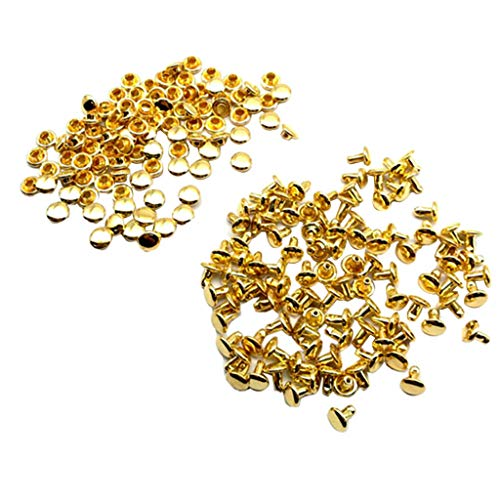 100 Sets Metal Double Round Cap Tubular Rapid Studs Leather Belt Bag Decor (Color - Gold)