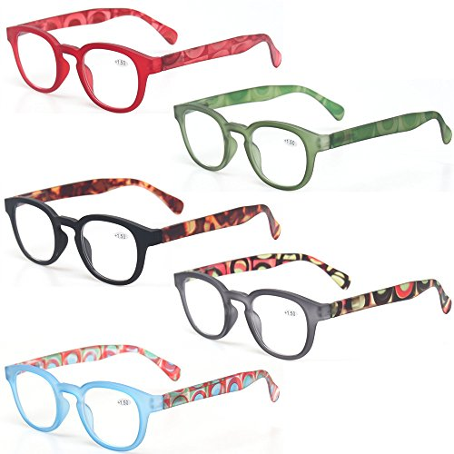 Reading Glasses 5 Pack Unisex Fashion Spring Hinge with Pattern Design Readers