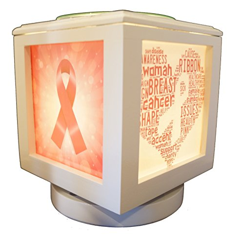 Coo Candles Memory Box Picture Frame and Electric Wickless Candle Warmer Combo - Photo Set Included! (White Lamp with Breast Cancer Awareness Set)
