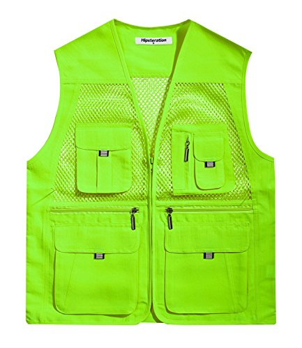 Hipsteration Men's Casual Outdoor Multi Pockets Utility Light Weight Mesh Hunting Travel Vest (MOVN202) Light Green, M