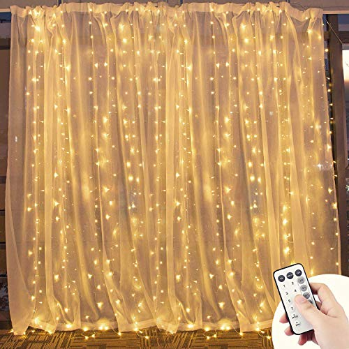 Window Curtain Twinkle Light With RF Remote KingSo 300 LED 9.8ft x 9.8ft 8 Modes Setting Warm White Fairy Light for Outdoor Bedroom Wall Wedding Party Home Garden (No Curtain) - Lighting Window