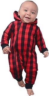 Goddessvan Christmas Baby Set,Newborn Infant Girls Boys Christmas Plaid Hooded Jumpsuit Zipper Romper Clothes