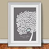 Personalized Wedding Guest Book Alternative Poster. Signing Tree with love birds. 200 leaves. 20x30 inches. Custom Gift for Anniversary, Family Reunion and Bridal shower.