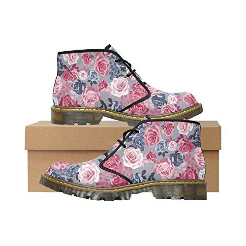 Unique Debora Custom Women's Nubuck Chukka Boots Ankle Short Booties With Artistic Gentle Romantic Roses Flowers