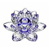 Amlong Crystal Hue Reflection Crystal Lotus Flower with Gift Box, Blue (5 Inch)