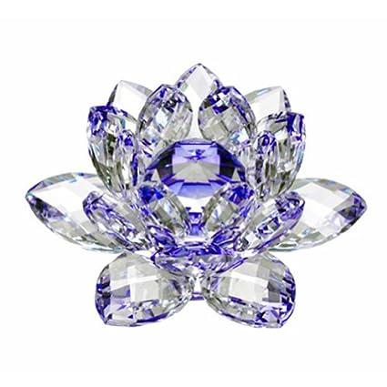 Amlong Crystal CF10230 Crystal Lotus Flower, 3, Blue 3