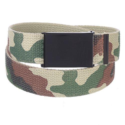 Sunny Belt Mens 1 ¼ Inch Wide Cut To Fit Reversible Canvas Web Belt Black Buckle