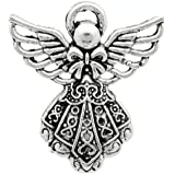 Charming Beads Pacco 10 x Argento Antico Tibetano 26mm Ciondoli Pendente (Angelo) - (ZX07090)