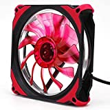 Computer Case Fan, Rambly Quiet 120mm DC 12V 3+4pin LED effects Clear For Radiator Mod (Red)