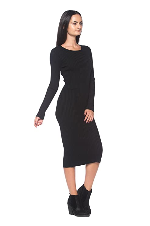 07f6548fcf Rogue Finery Women's Black Ribbed Knit Slim-Fit Stretch Scoop Neck Bodycon  Midi Sweater Dress at Amazon Women's Clothing store: