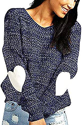 shermie Women's cute Heart Pattern Patchwork Long Sleeve Round Neck Knits Sweater Pullover