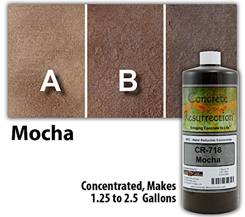 Concrete Resurrection Concrete Stain Concentrate Just Add Water, User & Eco-Friendly Semi-Transparent Professional Grade Cement Stain, Brand (32 ounce, Mocha) ()