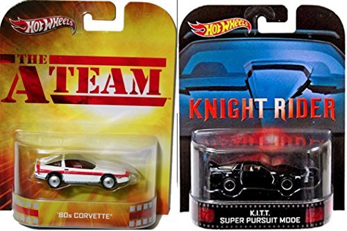 Hot Wheels Retro Entertainment 80's Action TV Collection A-Team 80's Corvette and Knight Rider K.I.T.T. Super Pursuit Mode
