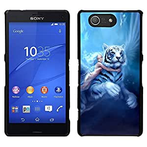 // PHONE CASE GIFT // Duro Estuche protector PC Cáscara Plástico Carcasa Funda Hard Protective Case for Sony Xperia Z3 Compact / Fairytale Big Tiger Girl Wings Blue Hair /