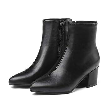 Botines De Moda para Mujer, Botas Cortas De Tacón Alto Gruesas con Botas Bajas Puntiagudas Cremallera Lateral Martin Botas Plataforma Impermeable Zapatos ...