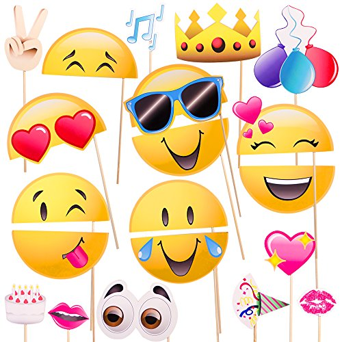 Windy City Novelties Emoji-Icon Smiley Face Photo Booth Prop Party Kit - 20 Pack -