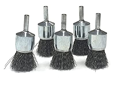 "3/4"" Crimped Wire End Brush - Carbon Steel Wire - 5 Pack"