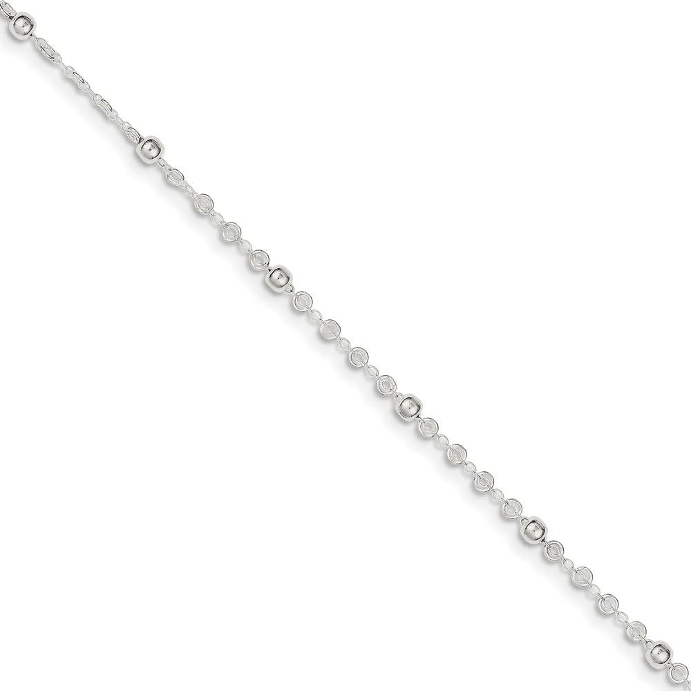 FB Jewels Solid 925 Sterling Silver 1In Ext Anklet