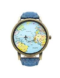 BLACK MAMUT Reloj Análogo Diseño Travel, Segundero en Forma de Avión, Movimiento Cuarzo, Correa de Cuero (Azul)