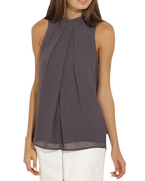 MISSMAO Elegante Camisetas para Mujer Blusa sin Mangas Chaleco de Gasa Tops Gris Oscuro L