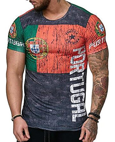 182b6aede pujingge-CA Mens T-Shirt Top Jersey World Cup Portugal Flag Soccer Fan 3D