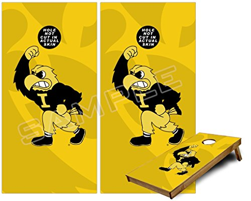 Cornhole Bag Toss Game Board Vinyl Wrap Skin Kit - Iowa Hawkeyes Herky on Gold (fits 24x48 game boards - Gameboards NOT INCLUDED)