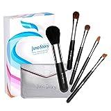 Juno Story 5 Piece Kabuki Travel Makeup Brush Kit with Compact Bag
