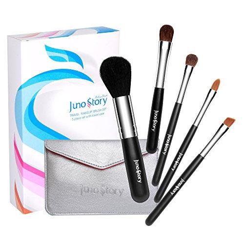 Juno Story 5 Piece Kabuki Travel Makeup Brush Kit with Compact Bag ()
