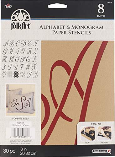 Script Alphabet Stencil - FolkArt 50315 Stencil Paper, Alphabet & Monogram Script 8